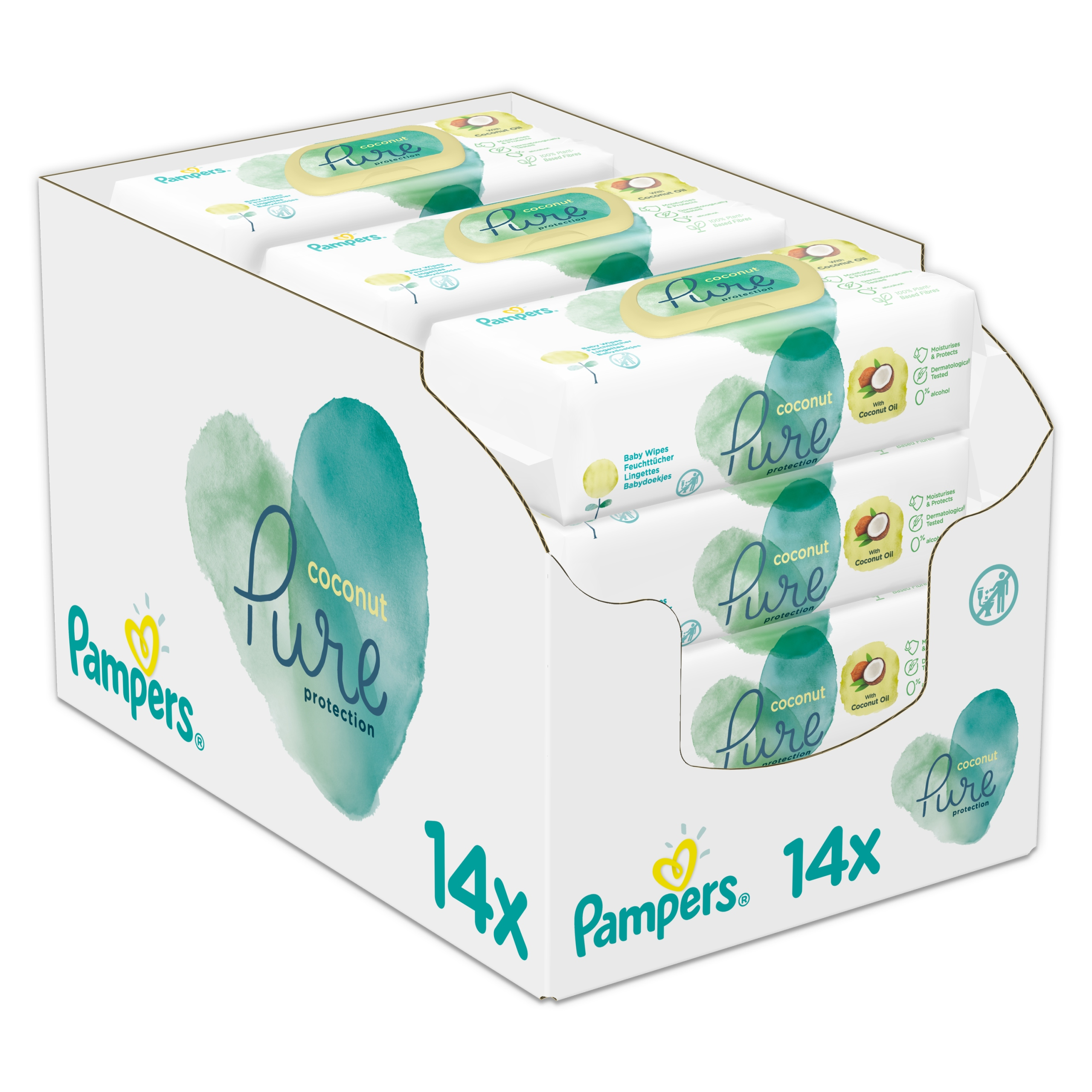 Салфетки Pampers Pure Coconut Wipes 14 x 42 шт.