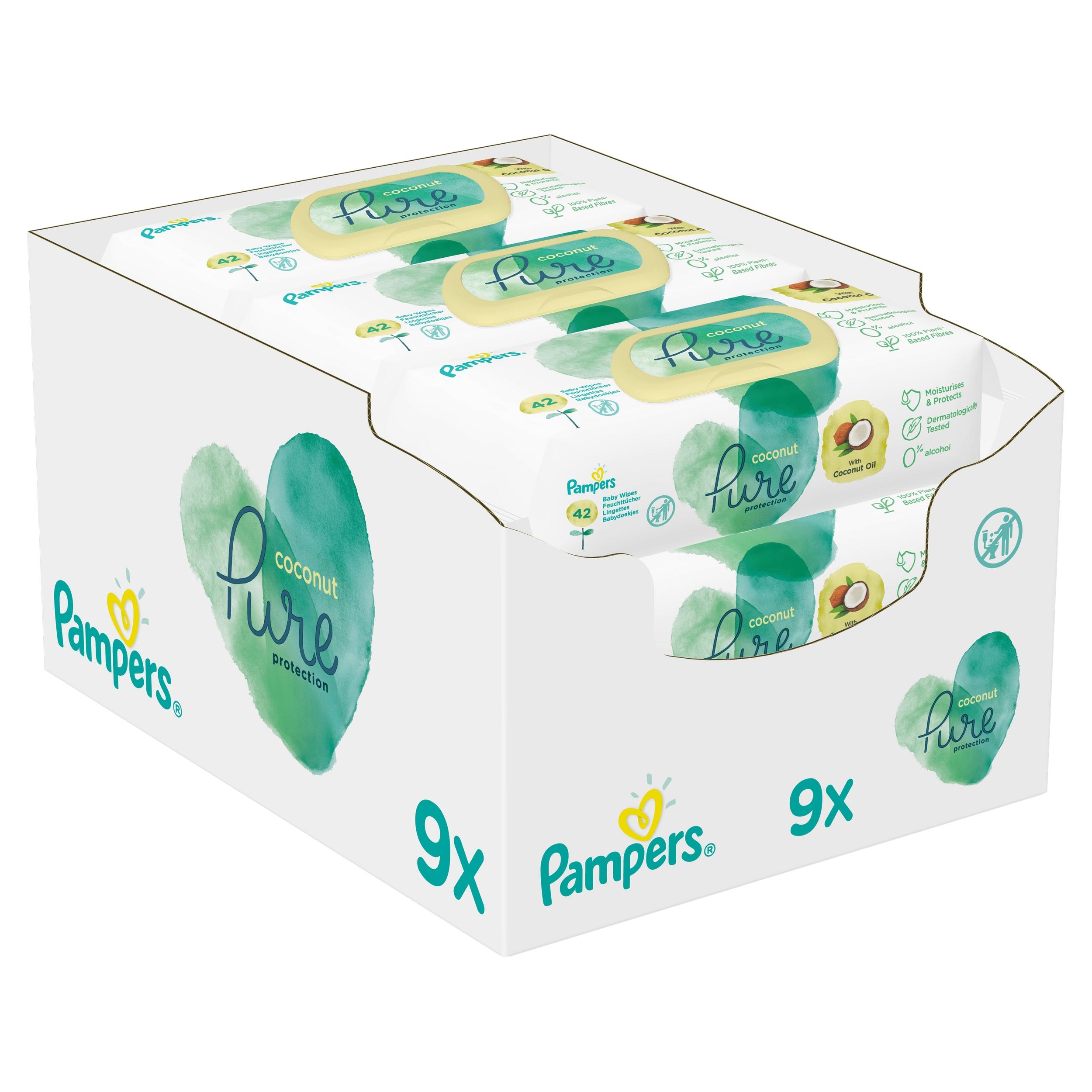 Купить Салфетки Pampers Pure Coconut Wipes 9 x 42 шт. на Otpravka - цены и фото - доставка из Польши и стран Европы в Украину.
