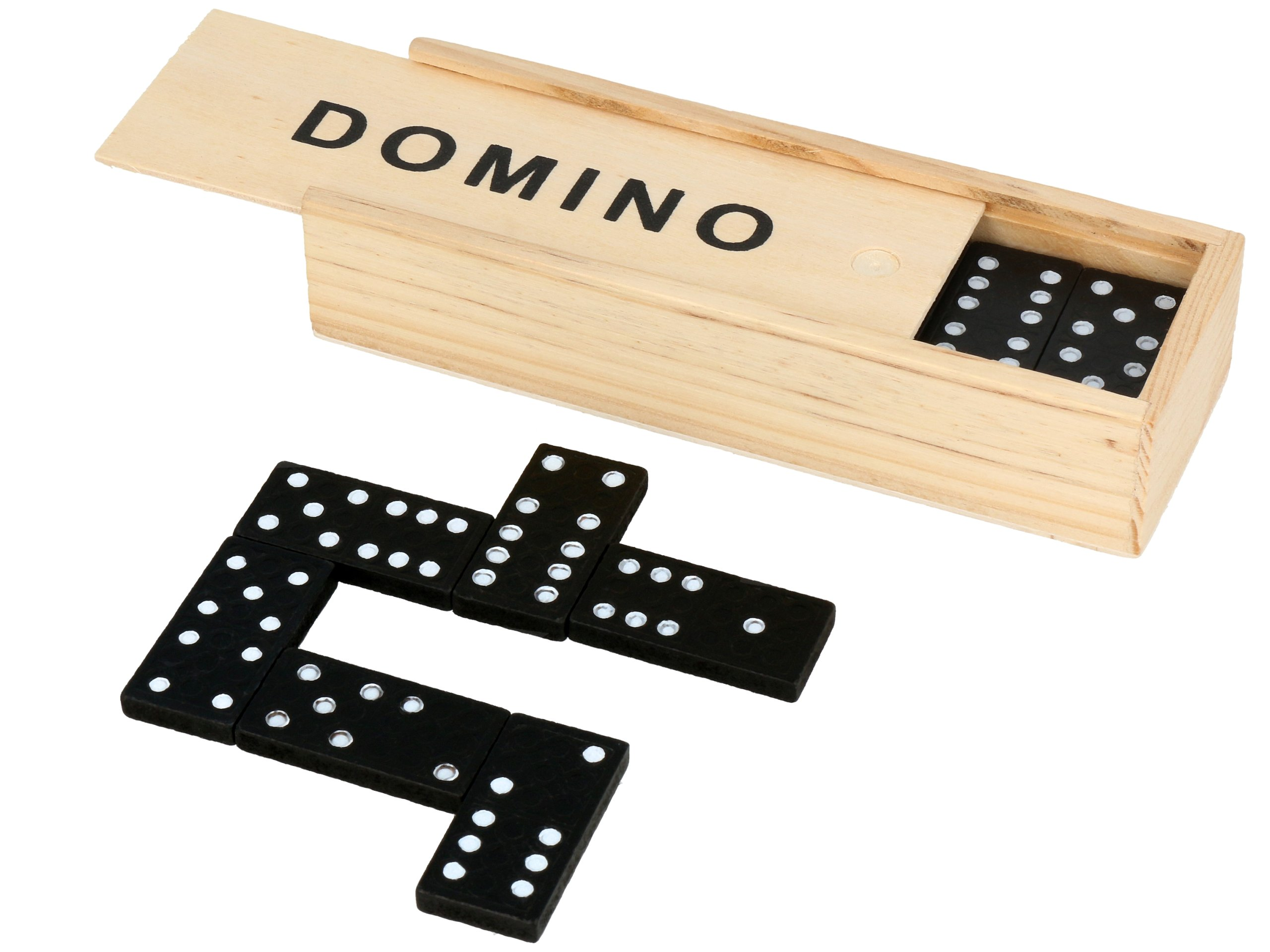 Item DOMINO GAME in WOODEN BOX case 28 ELEMENTS