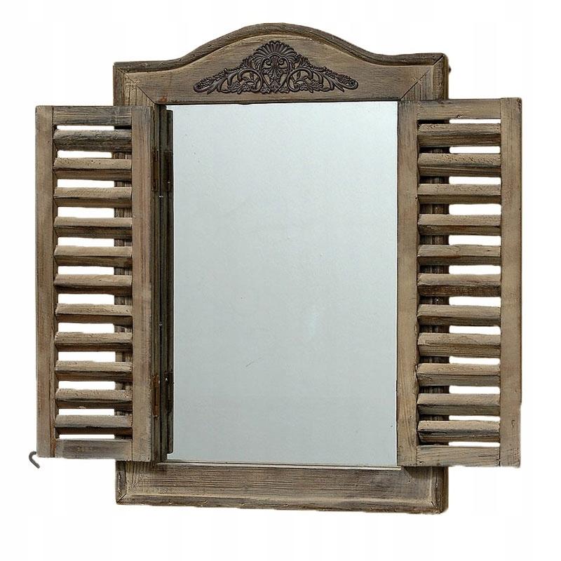 Drevené zrkadlo so žalúziami 45x31 cm vintage brown