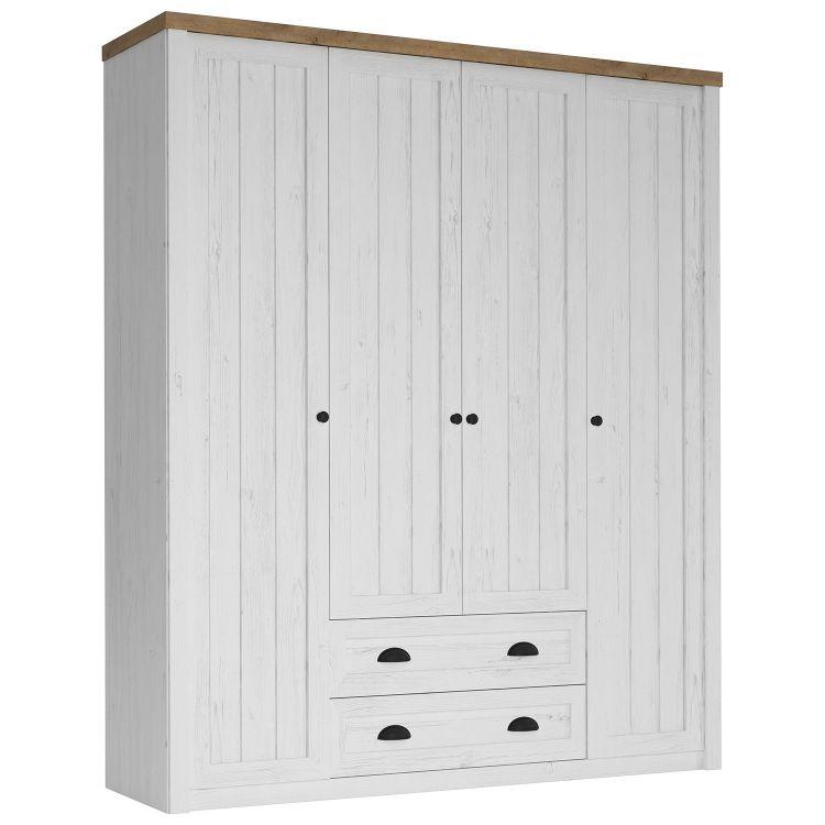 Provensálska biela skriňa so 4 dverami Retro Style