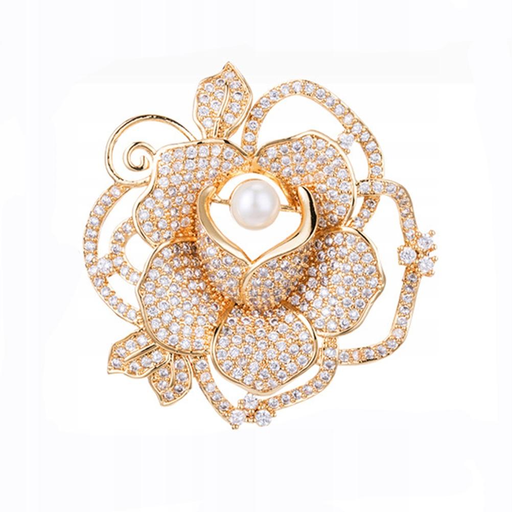 Нежная брошь в форме розы Elegant Pearl Bro