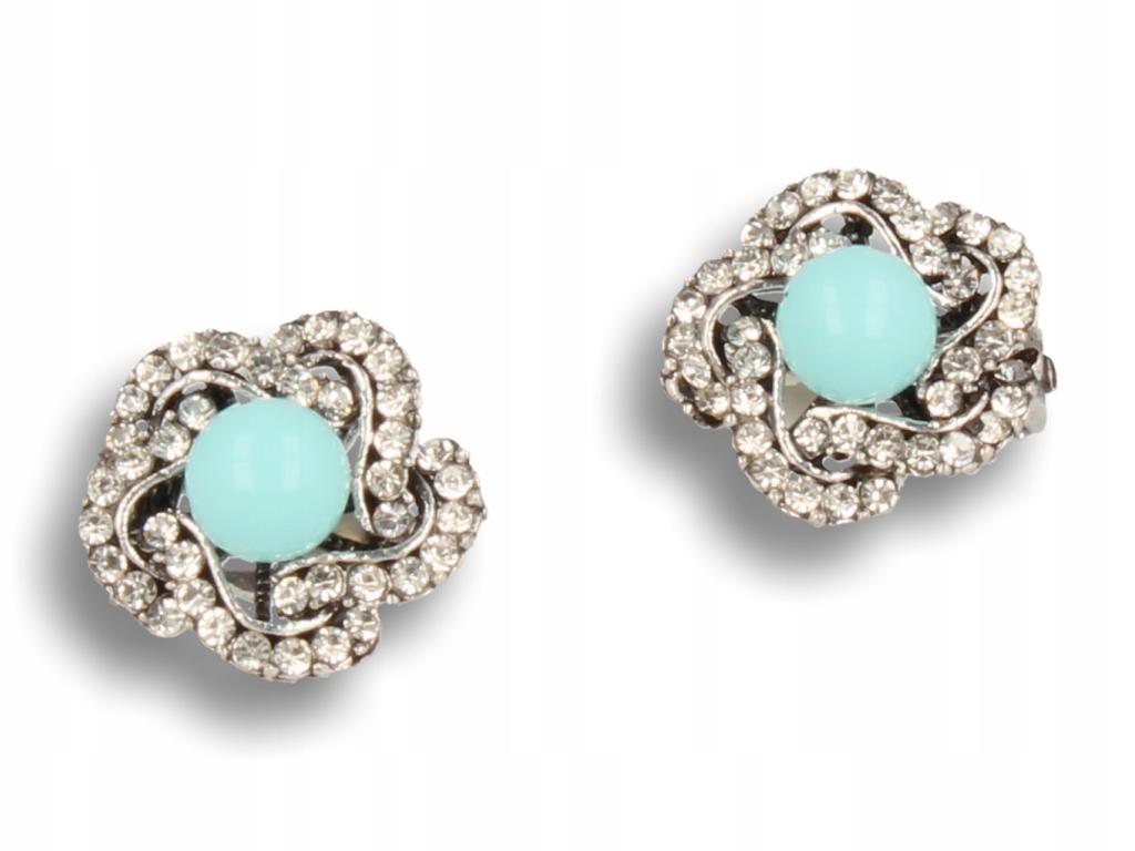 Strieborný clip-on náušnice vo vintage štýle s mätou a perla