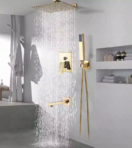 Nastaviť flush-montáž sprcha sprcha kohútik zlato