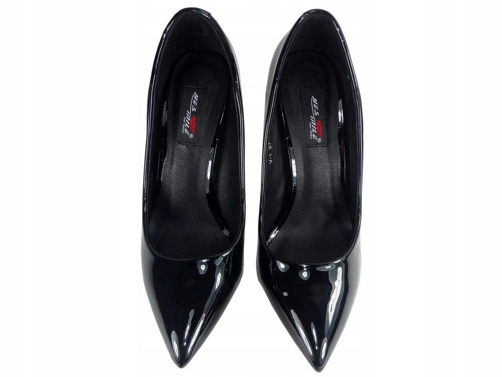 Czarne szpilki buty na obcasie lakierki 36