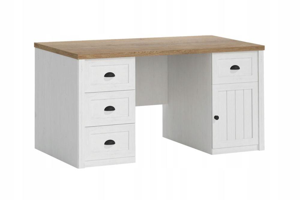 Biela písací Stôl so zásuvkami, retro štýl Provence