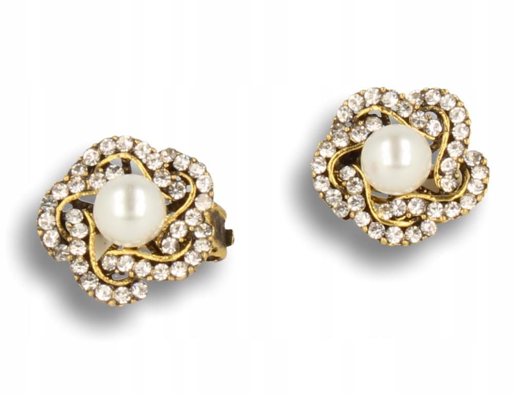 Zlato clip-on náušnice vo vintage štýle s white pearl