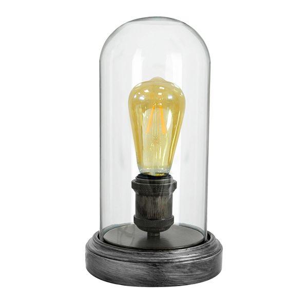 Stolná lampa RETRO sklenený kryt LED priemyselné