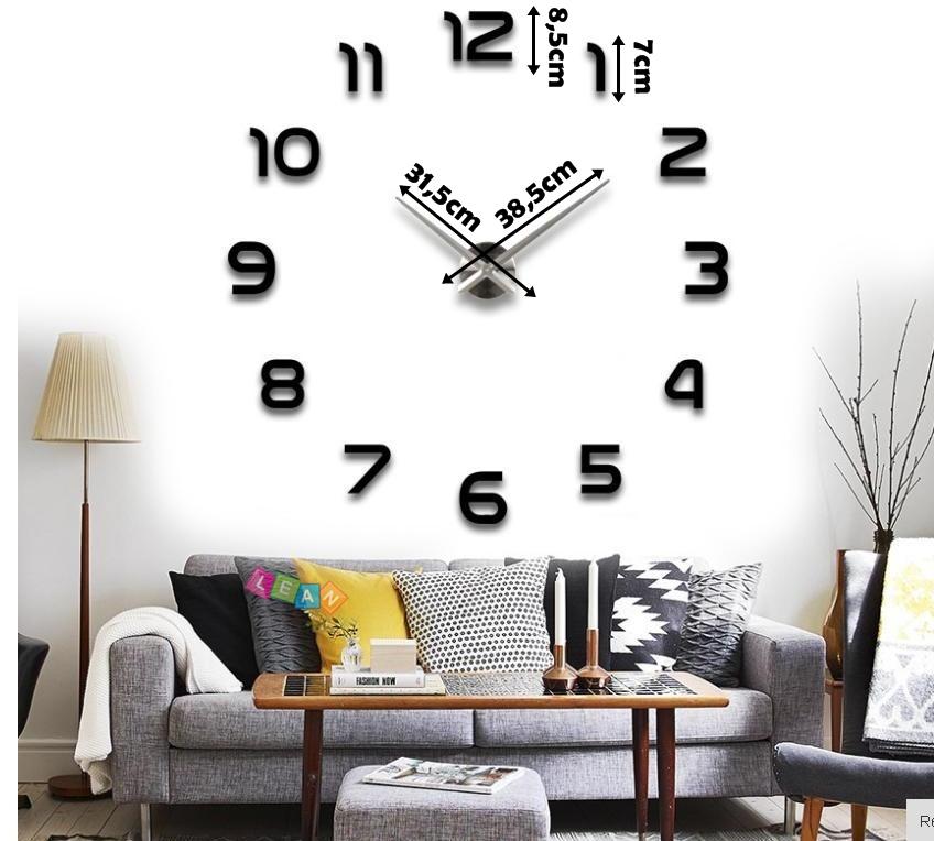 Duży Nowoczesny Zegar Na ścianę 4 Wzory Naklejany