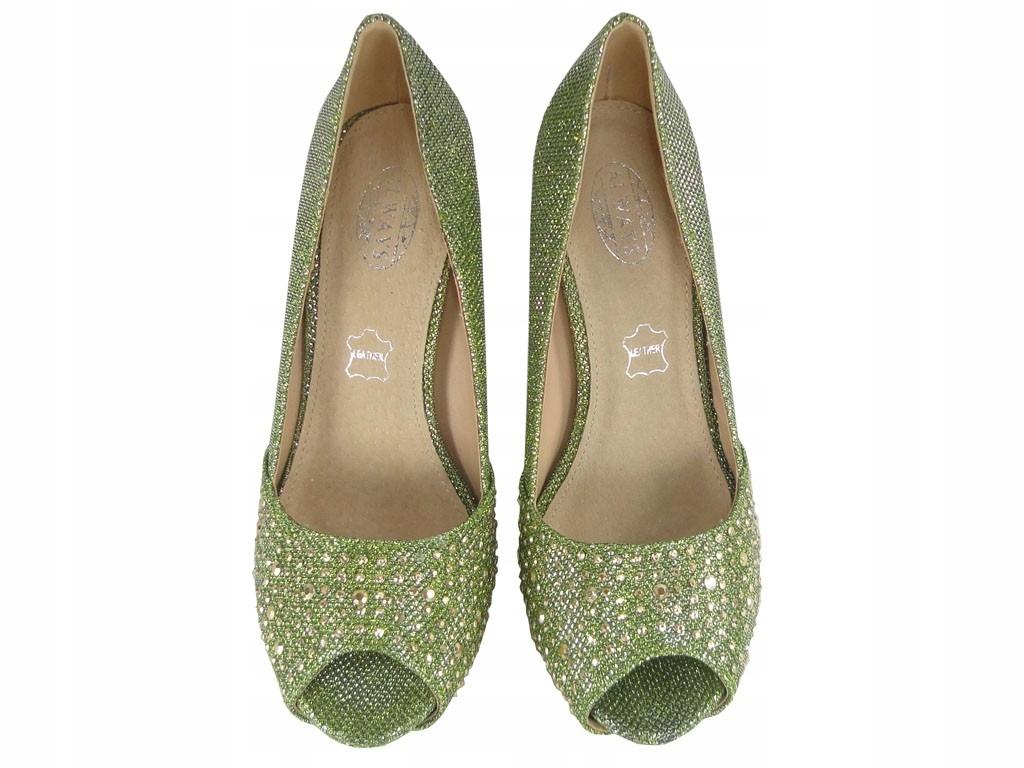 Oliwkowe zielone szpilki na platformie buty 40