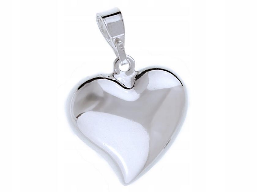 Srebrny Wisiorek Duże Gładkie Serce Heart Połysk
