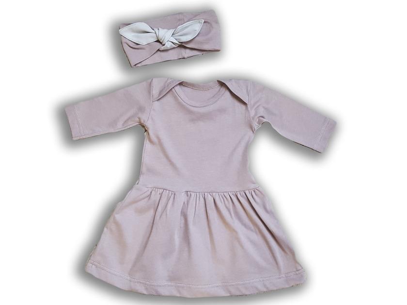 Nanaf Organické šaty + hlavový most Vintage Rose 74 cm