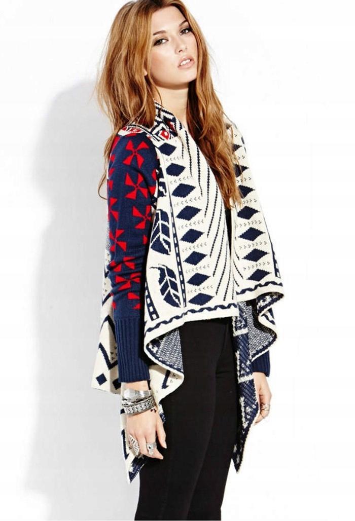Cardigan dlhý sveter pre ženy pončo vintage M 38