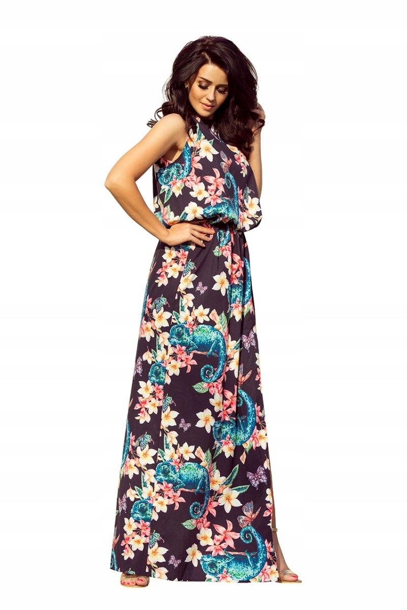 Numoco Sukienka w kwiaty z rozcięciem 191-3 r. S
