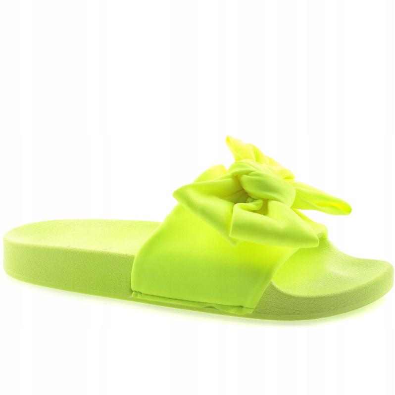 Neonowe Żółte Klapki Kokarda MU-6 r.37