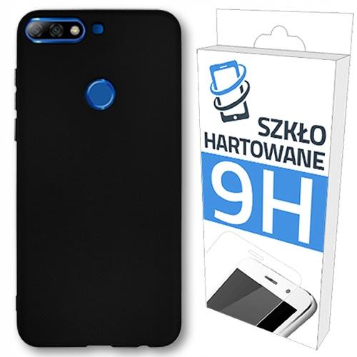 Czarne Etui + Szkło Hartowane do Huawei Honor 7C