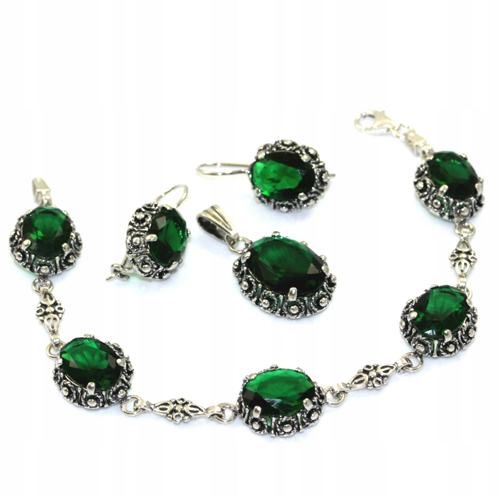 Súprava strieborných Retro emerald