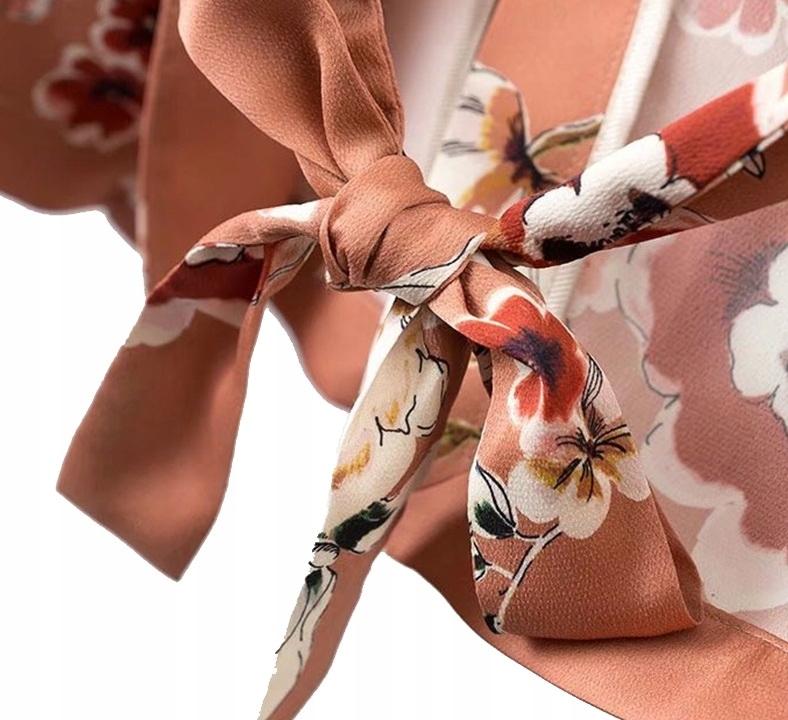 Béžová bunda v retro kvety, viazanie voľné M