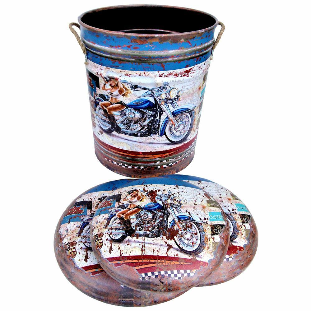 Kovové pouf ponúka vintage loft s motocykel