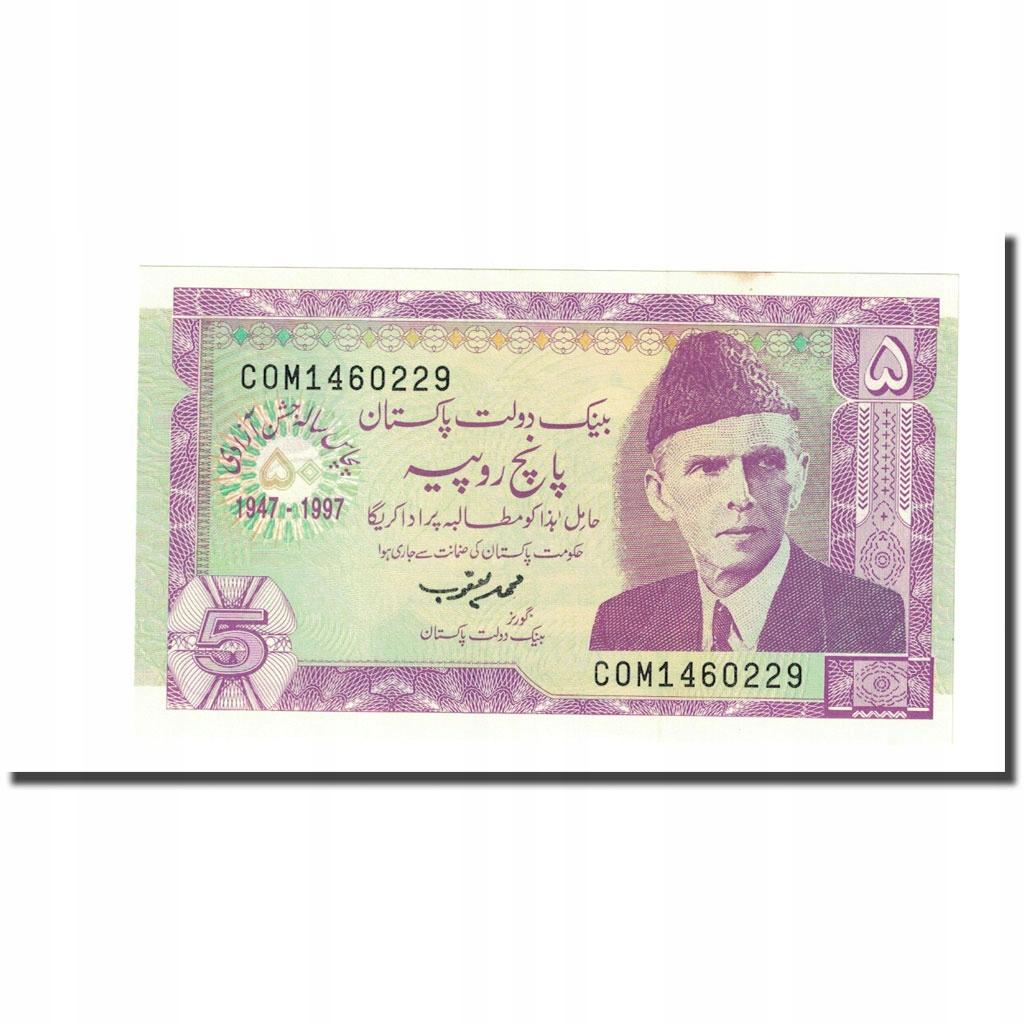 Банкнота, Пакистан, 5 рупий, 1997 г., КМ: 44, UNC (65-7
