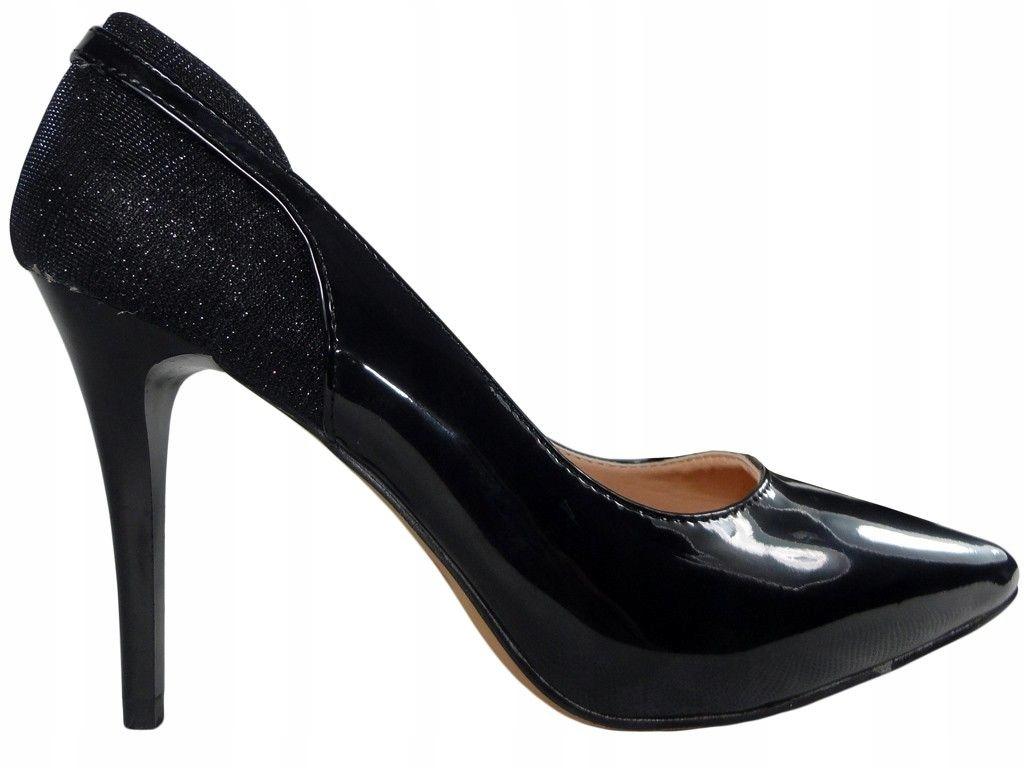 Czarne szpilki czółenka błyszczące piękne buty 38