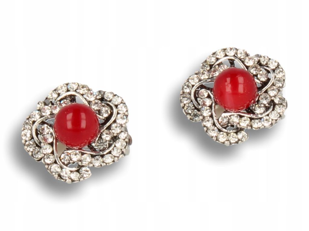 Strieborný clip-on náušnice vo vintage štýle s bordową pearl