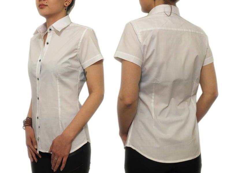 Elegancka biała koszula damska Slim krótki 44/XXL