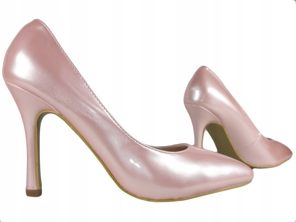Jasno różowe buty na szpilce perłowe lakierki 39