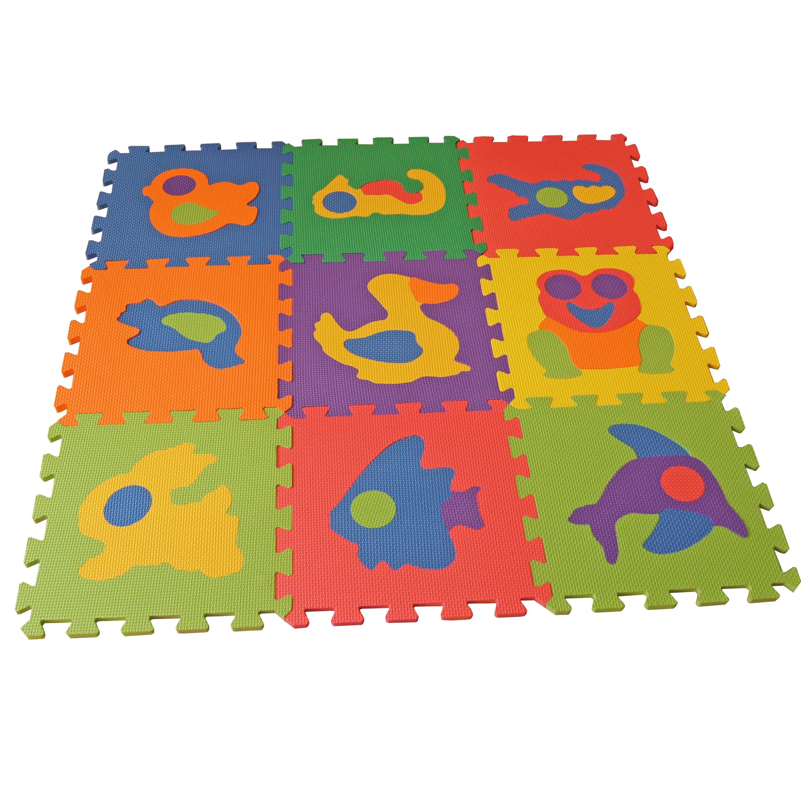 Rohože puzzle peny domáce zvieratá 32x32x1cm 9 elem.