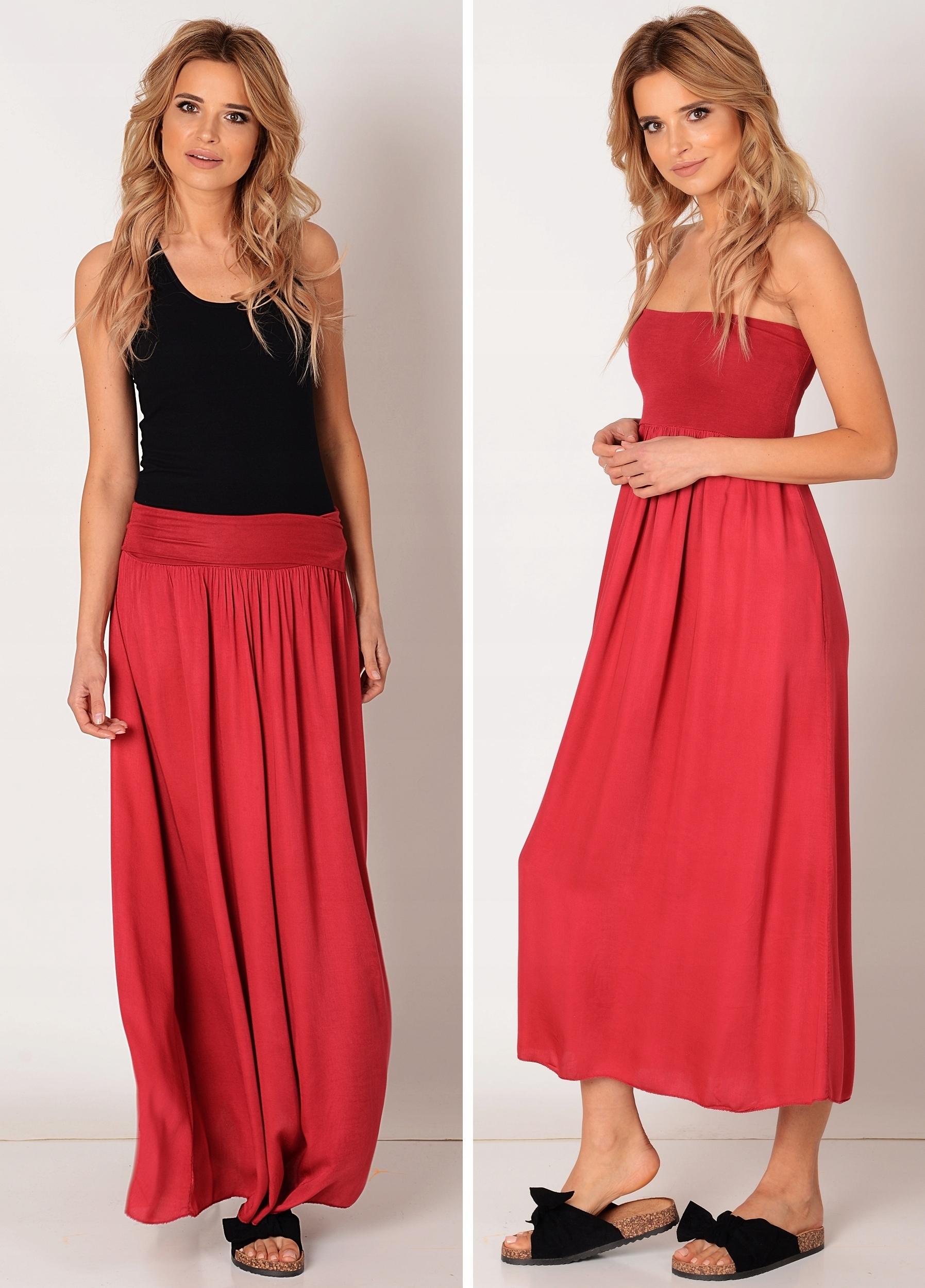 Bordowa długa spódnica Letnia MAXI 2w1 Sukienka 8122135097