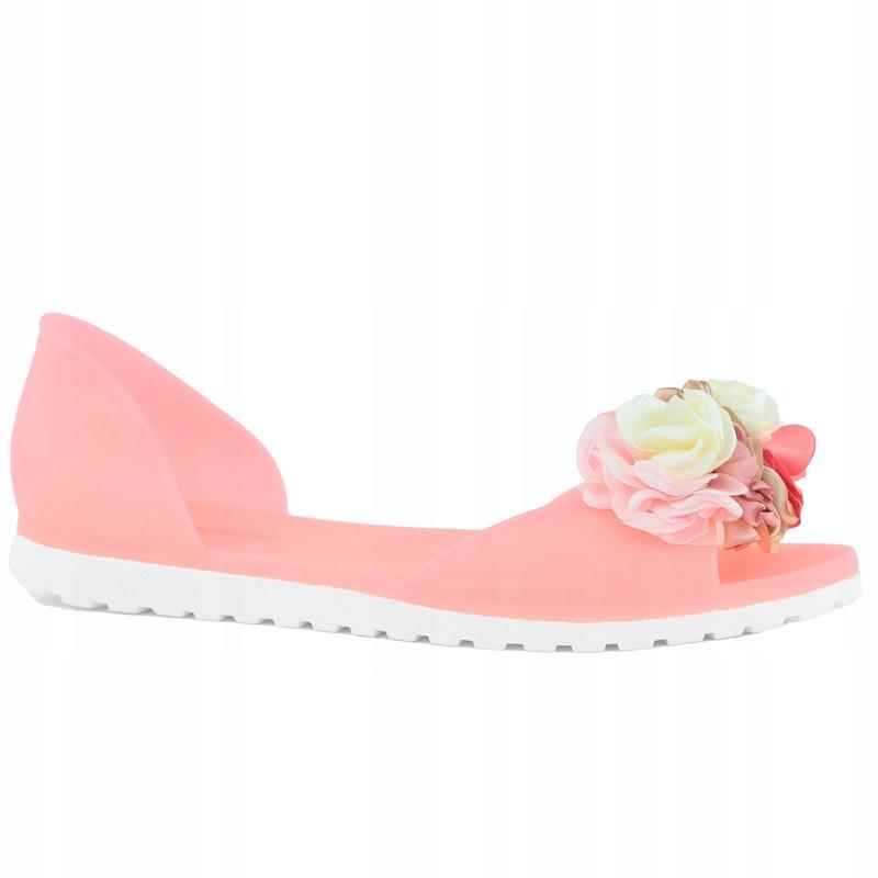 Neonowe Red Meliski Kwiaty Róż Sandały SE9613 r.38