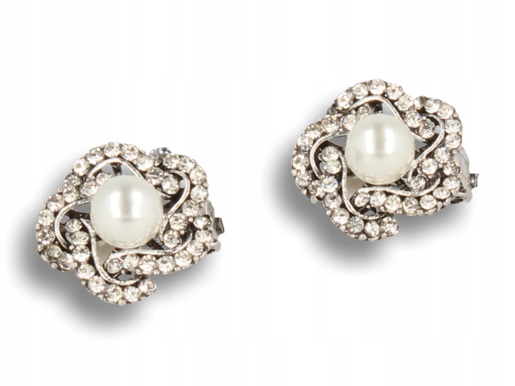 Strieborný clip-on náušnice vo vintage štýle s white pearl