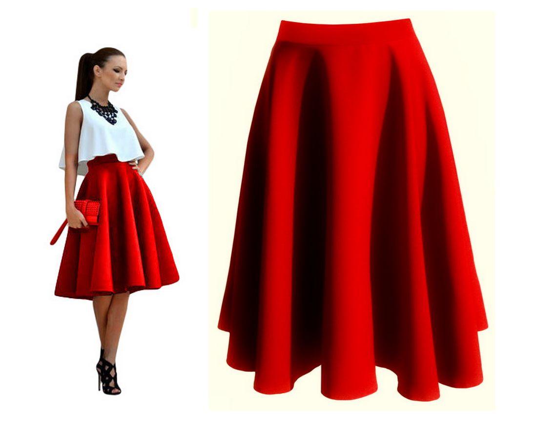 Spódnica Czerwona z Koła MIDI Rozkloszowana 38 M