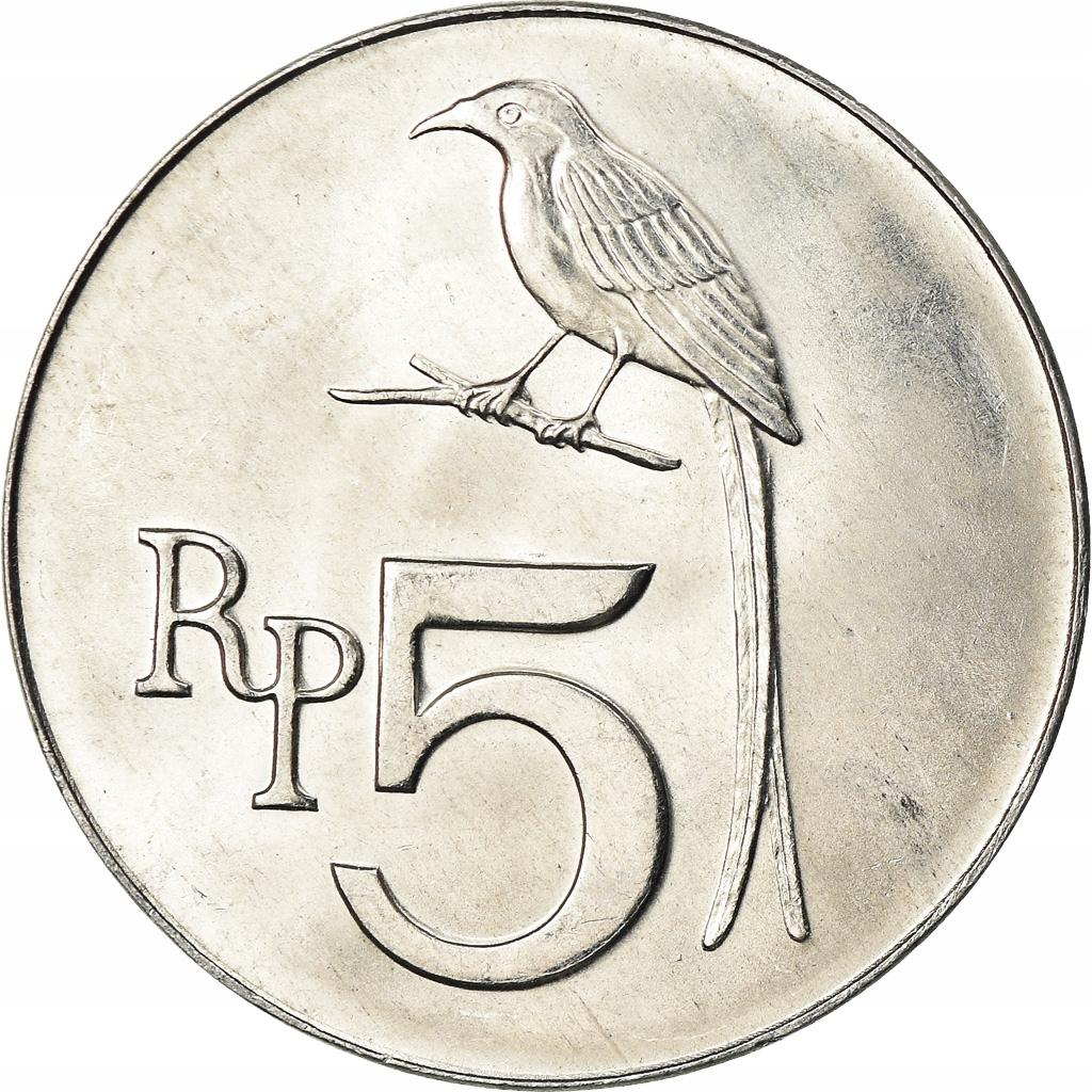 Moneta, Indonesia, 5 Rupiah, 1970, MS(64), Alumini