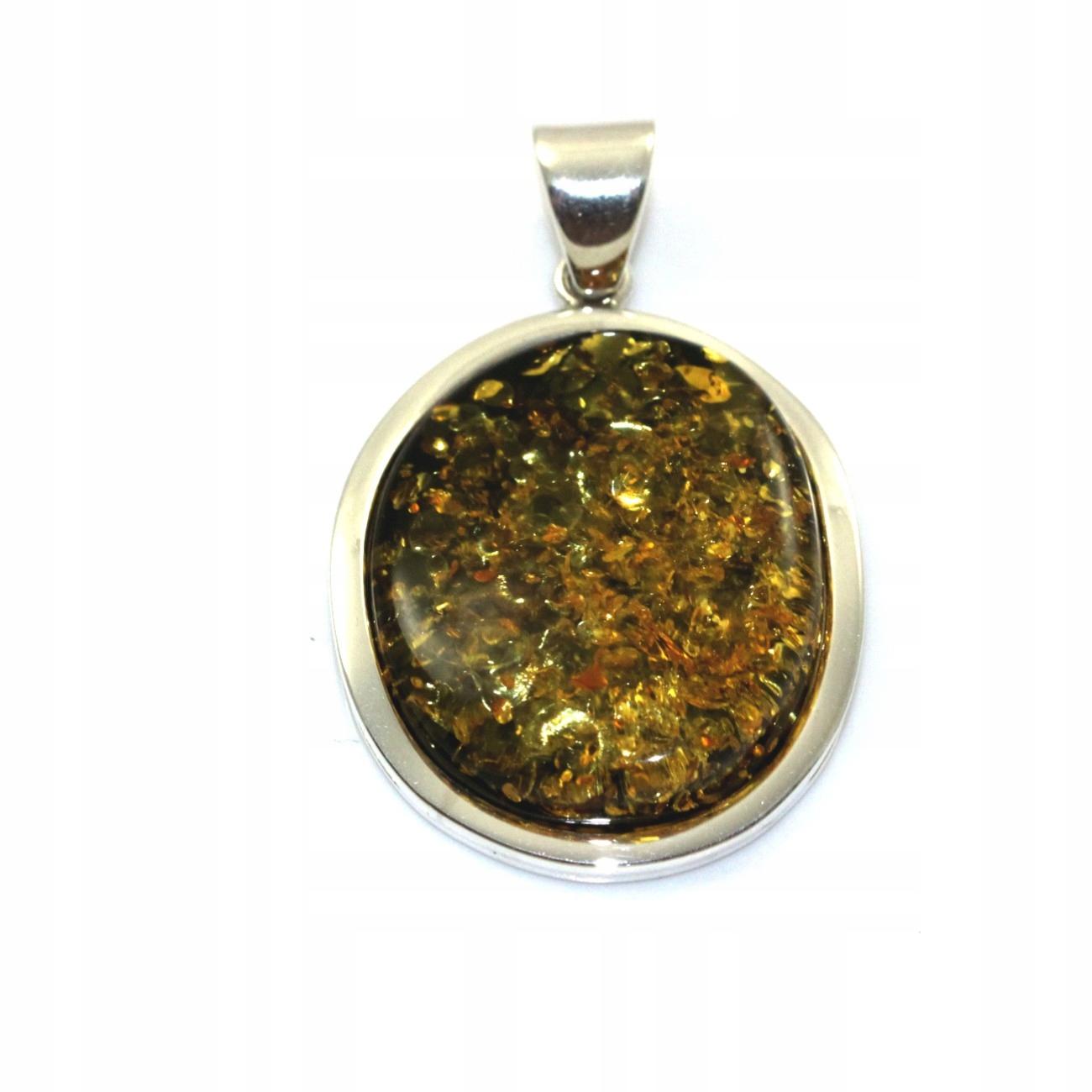 Mincový striebro prívesok so zeleným amber