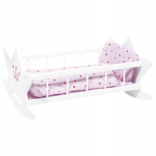 Kolíska pre bábiky, drevená postieľka + posteľná bielizeň Goki