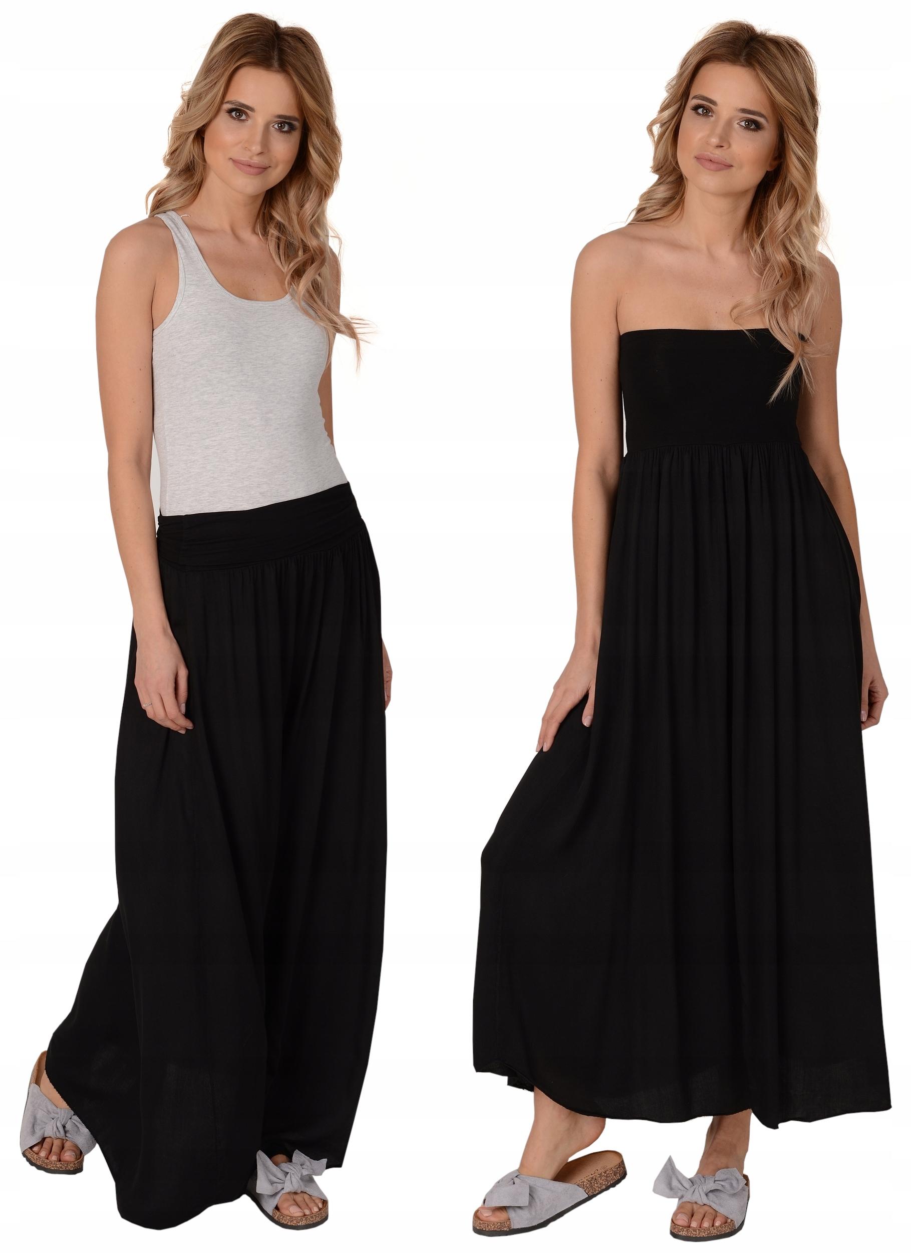 Czarna długa spódnica na lato 2w1 zwiewna sukienka