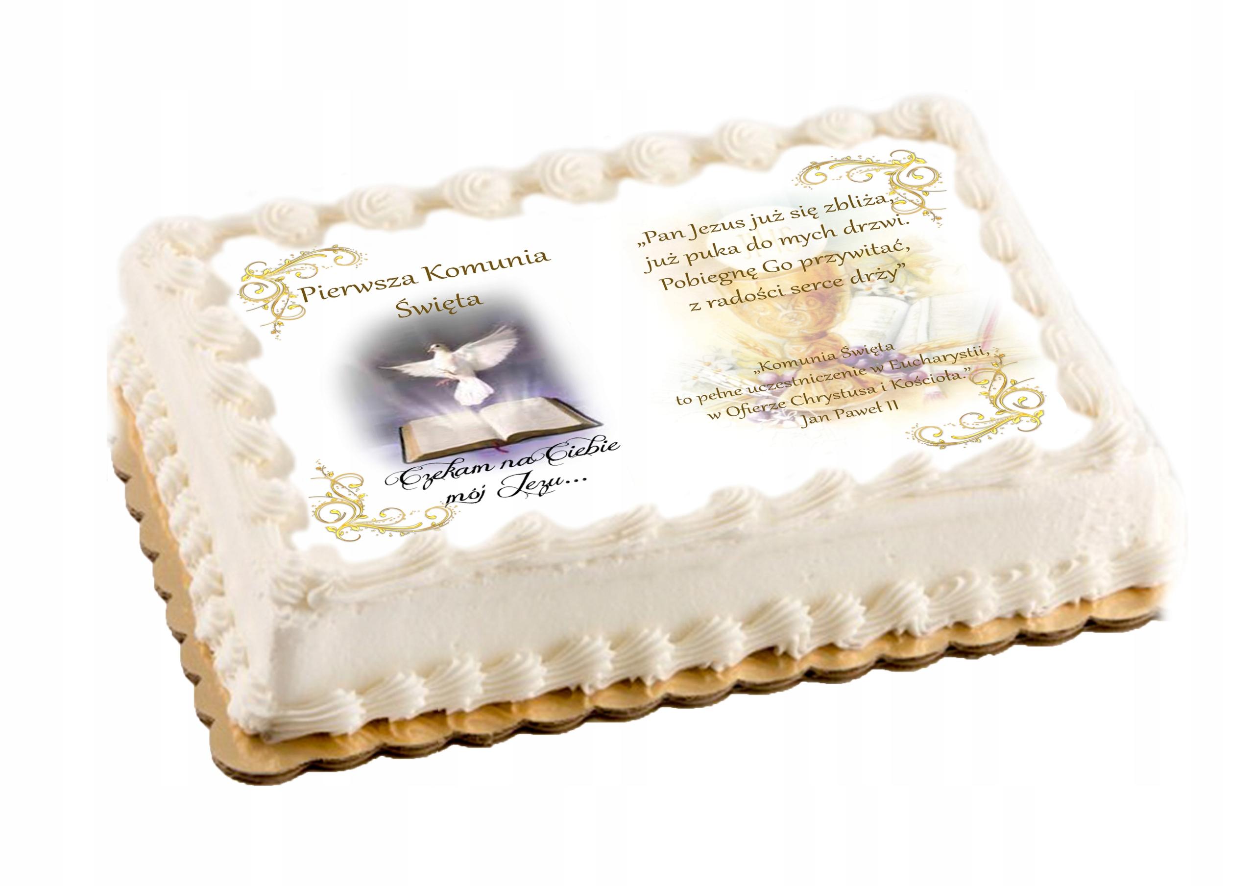 Oplatek Na Tort Komunijny Na Komunie Duzy A4 Napis 7837066817 Allegro Pl
