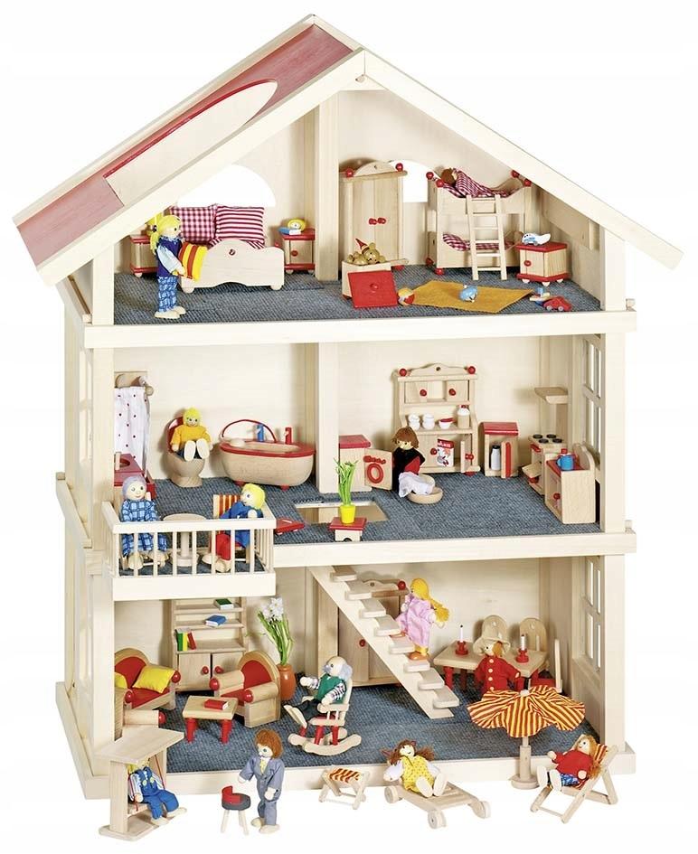 Veľký drevený domček pre bábiky, 3 poschodia, Goki