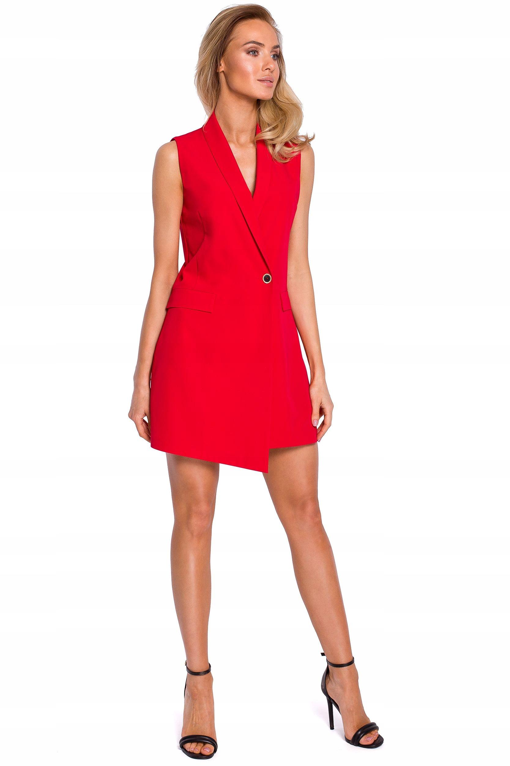 M439 Sukienka żakietowa bez rękawów - czerwona 44