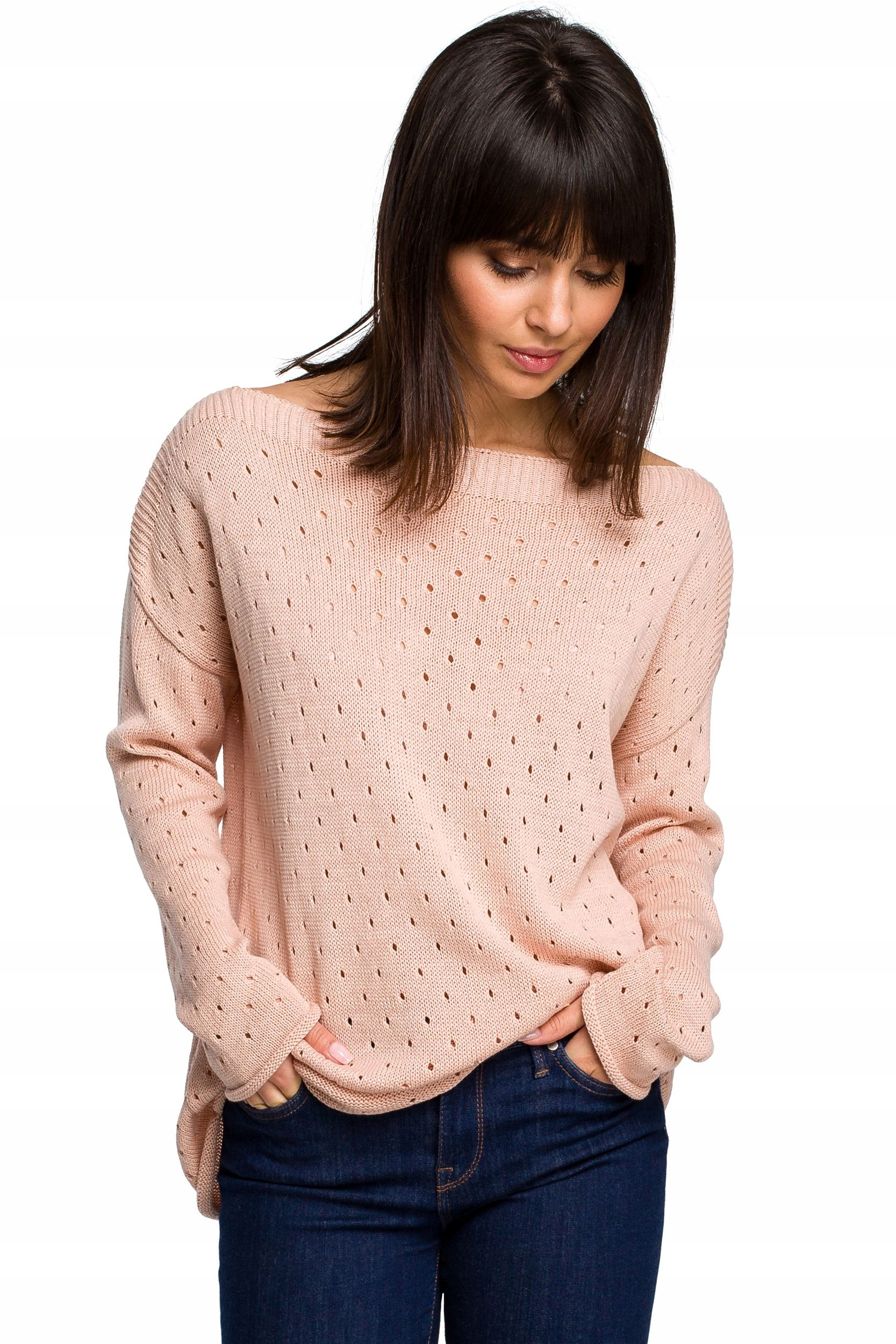 BK019 Sweter z oczkami - brzoskwiniowy Uni