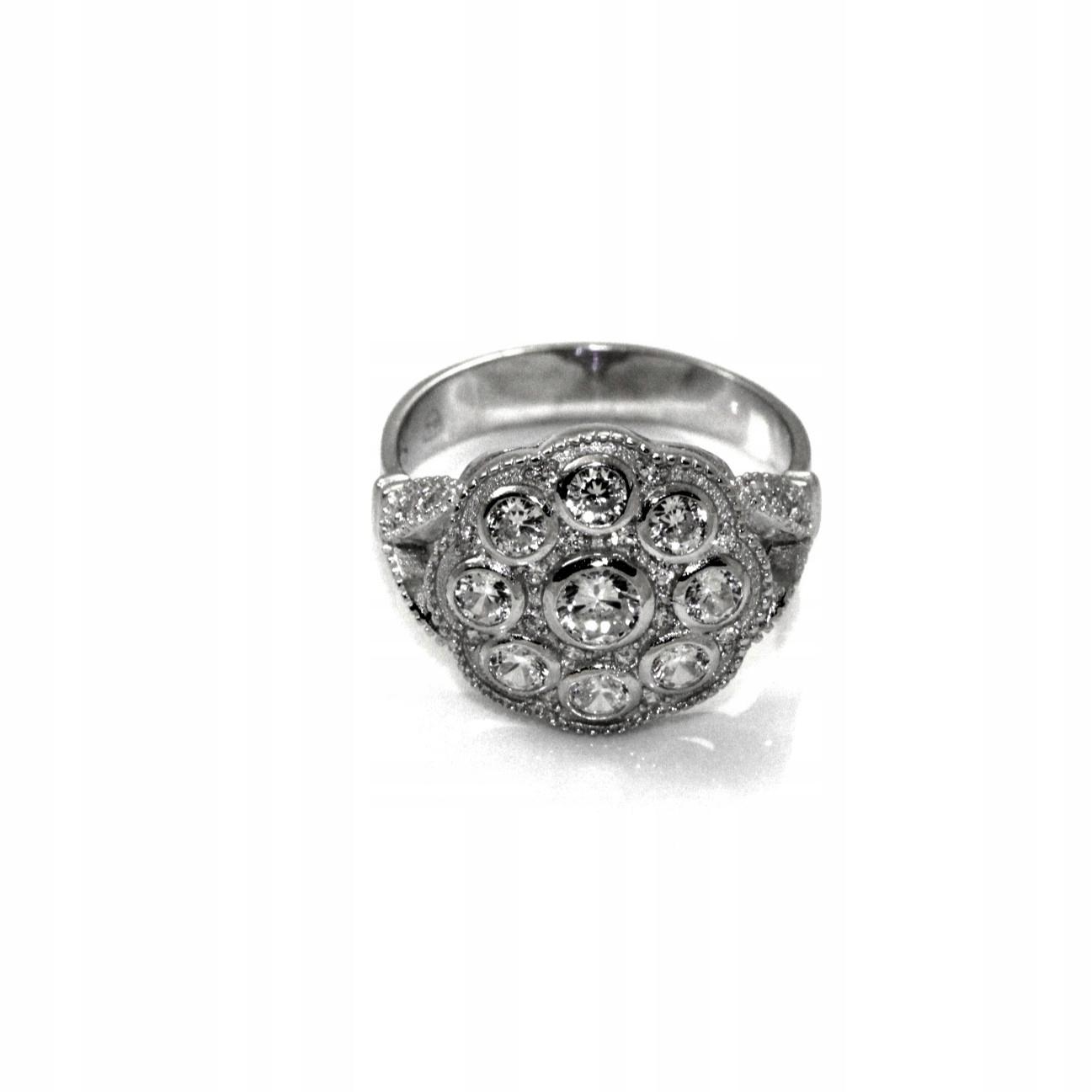 Retro strieborný prsteň s kubickým zirkónom 20