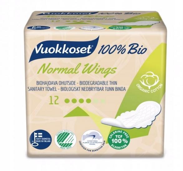 Vuokkoset Органические гигиенические прокладки NORMAL 100% БИО-12x