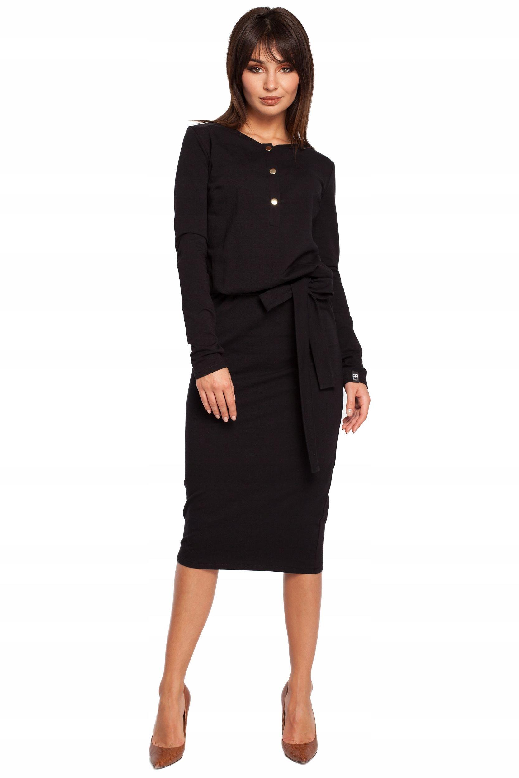 B024 Sukienka złote napy - czarna 42 | XL