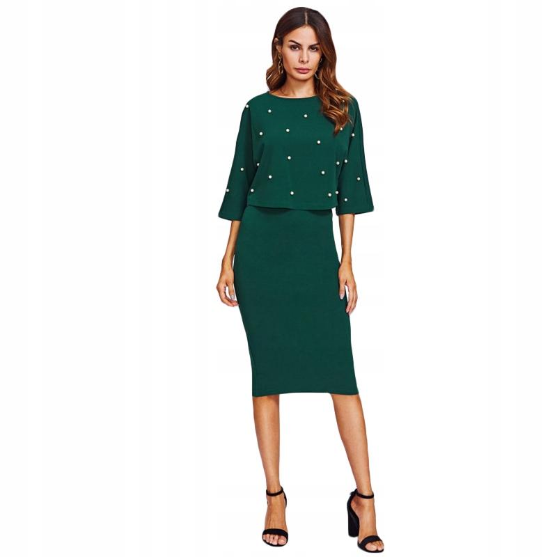 Šaty s perlami zelená midi svadobnej móde S
