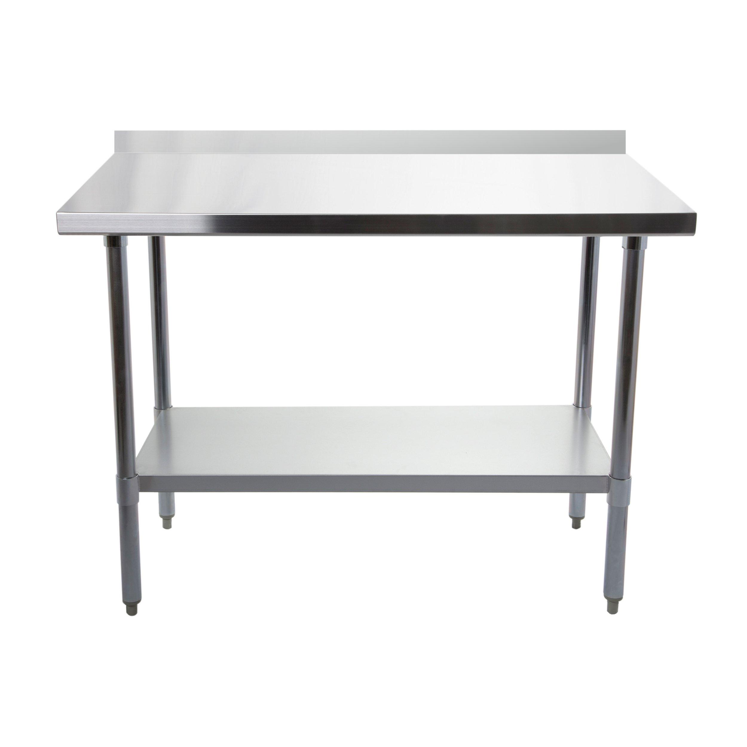 Pracovný stôl. Nerezová oceľ s regálom. 90 x 60 cm