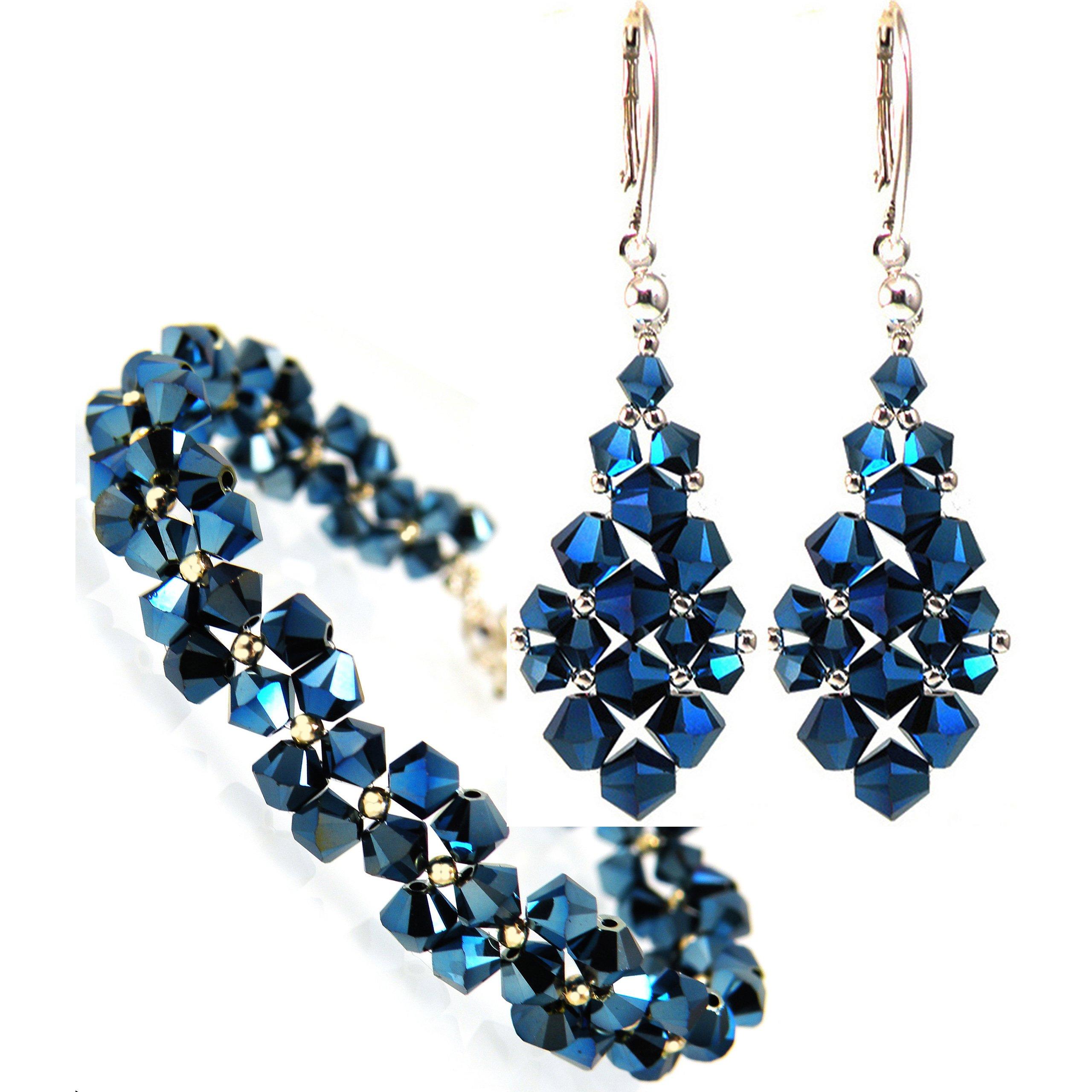 Set SWAROVSKI crystal tmavo modré šaty
