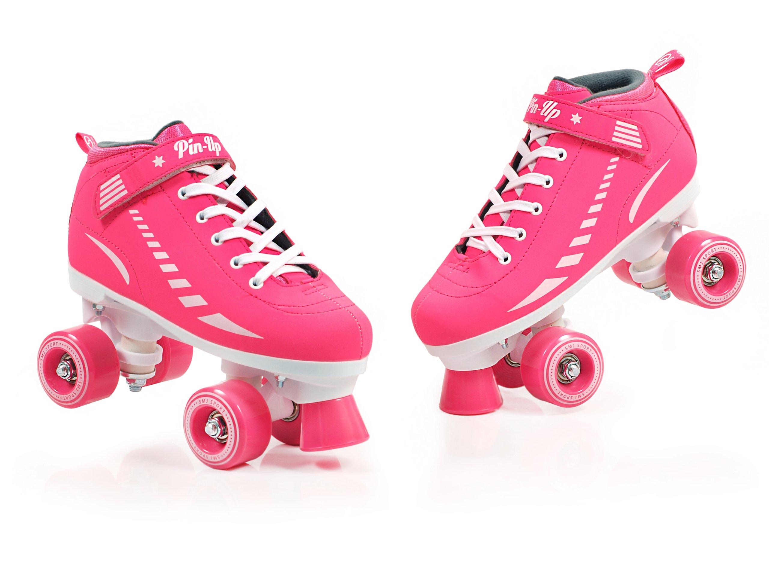 Štýlové ružové pevné kolieskové korčule 36 Sport PIN-UP PROM