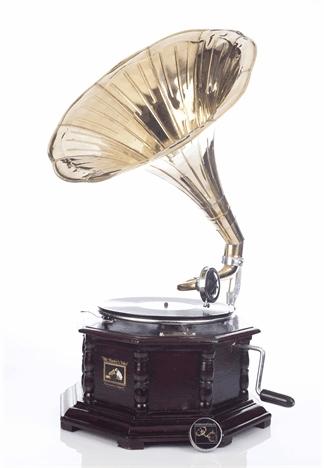 OŚMIOBOCZNY gramofon na korbę WIŚNIA patefon