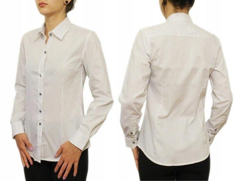 Elegancka biała koszula damska Slim kropki 40/L